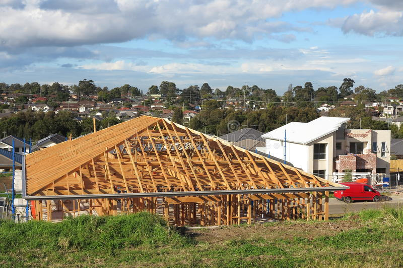Australian house under construction. Framing stage of a family home in an Australian suburb, Sydney stock images