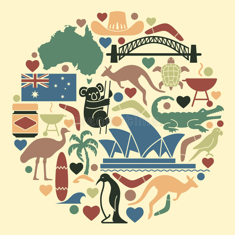 Australian Icons In The Form Of A Circle Stock Vector Illustration