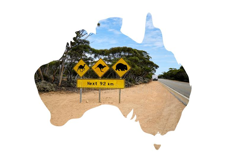 Australian map and animals sign on the road. Australian map with photo of Australian animals sign in the outback country royalty free stock image