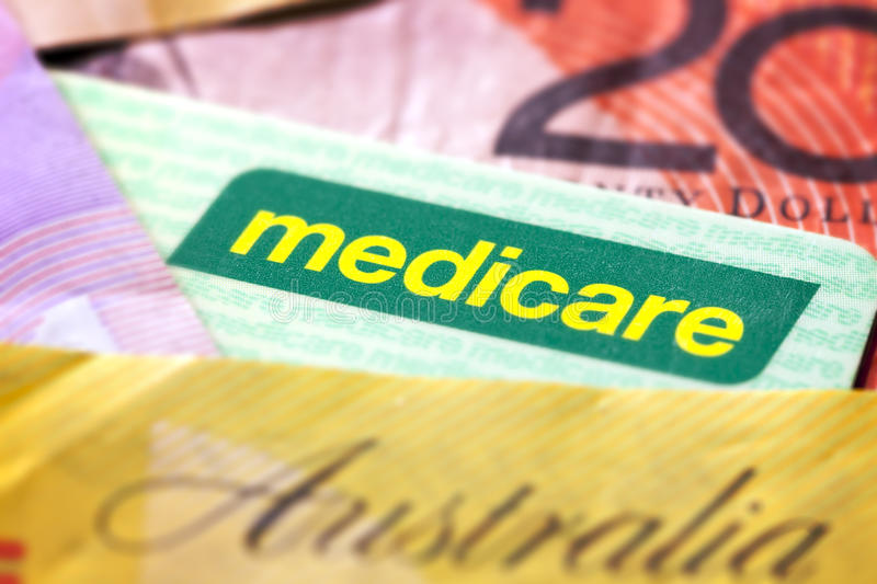 Australian Medicare Card and Money.  royalty free stock photography