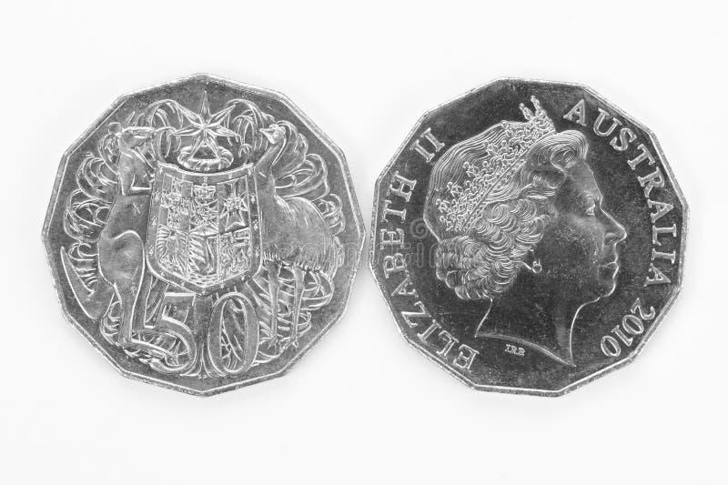 Australian moeda de cinqüênta centavos fotos de stock royalty free