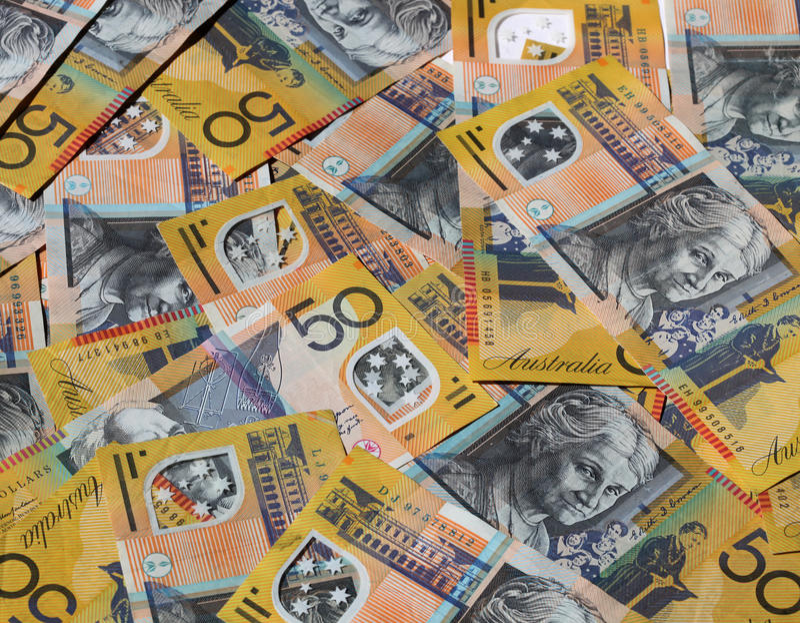Australian money. A closeup of Australian 50 dollar notes stock photography