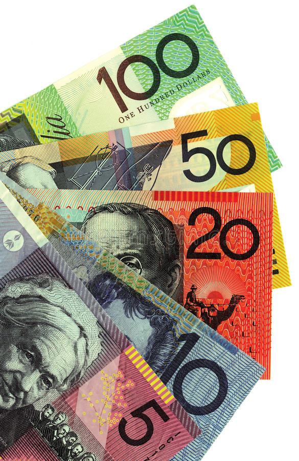 Australian money. A background of Australian money banknotes. Copyspace