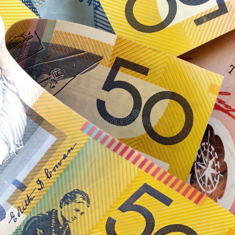 Australian Money. In close-up. Square composition royalty free stock images