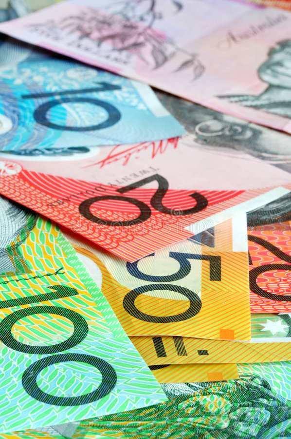 Australian Money. Notes form a full-fram background, with focus on front notes stock photo