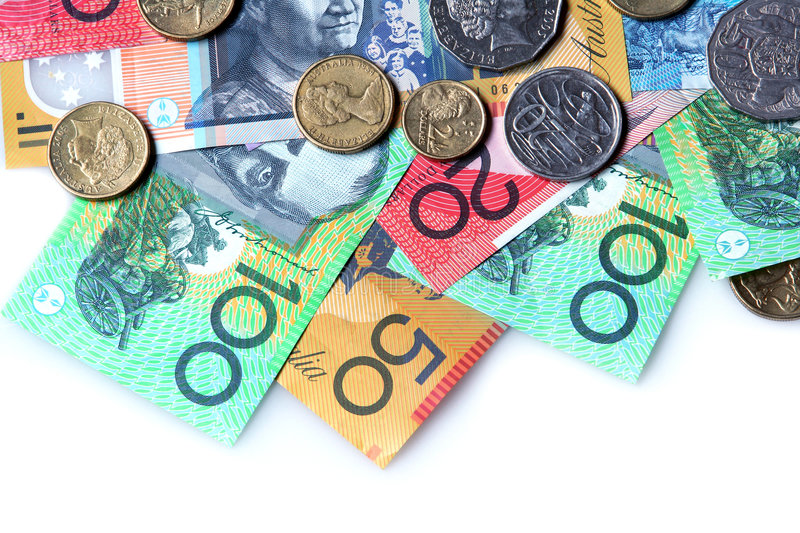 Australian Money. ~ notes and coins ~ on white background stock image