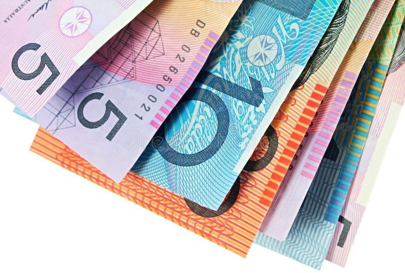 Australian Money. Fanned against white background stock photos