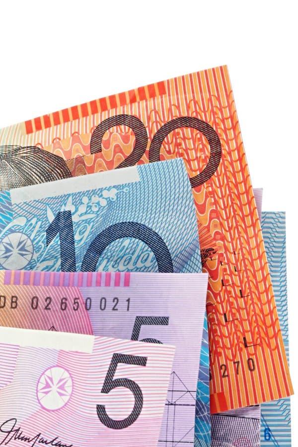 Australian Money. Fanned against white background royalty free stock image