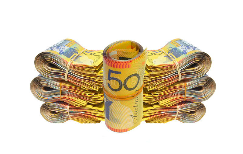 Australian Money. Isolated on a white background stock photos