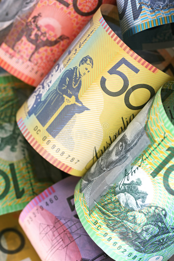 Australian Money. Background, with focus on fifty dollar note stock images