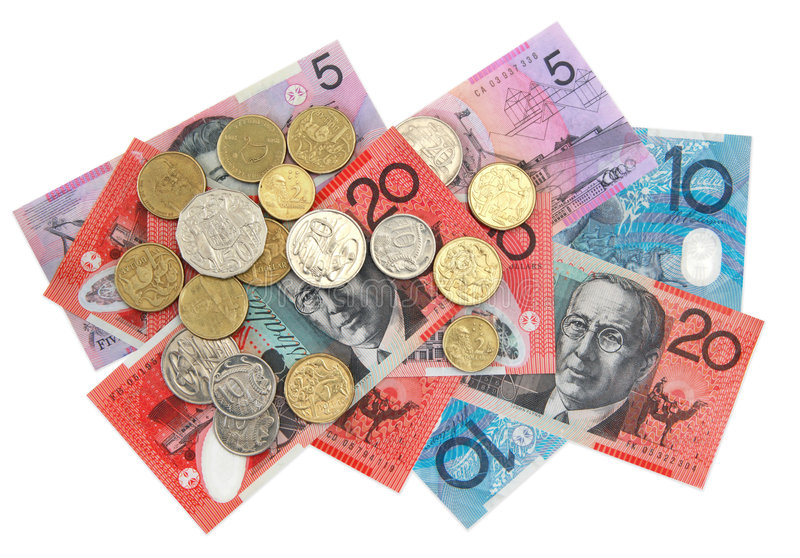 Australian money. Scattered. Overhead view, isolated on white royalty free stock images