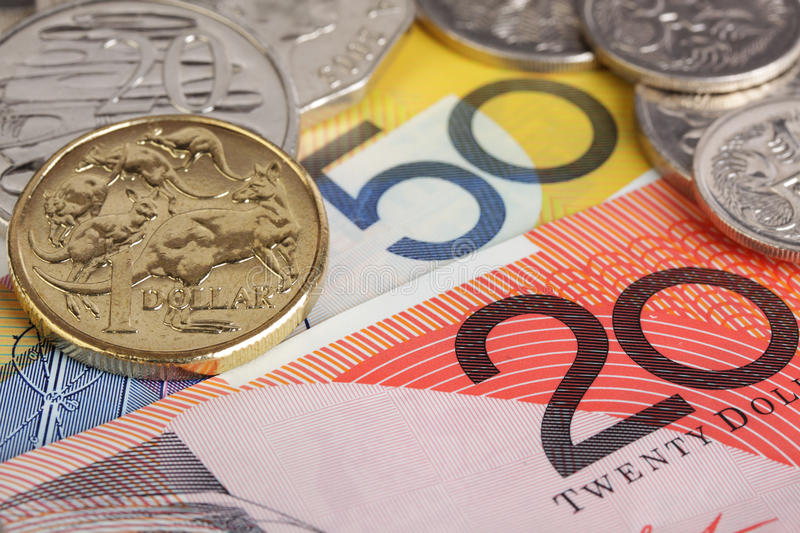 Australian money. Australian coins on $20 and $50 dollar notes stock photo