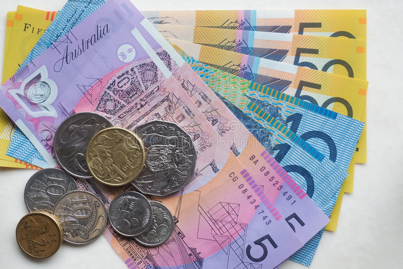 Australian Money. Assorted Australian Currency - fifty dollar notes, ten dollar notes, five dollar notes - with an assortment of coins / change stock photos