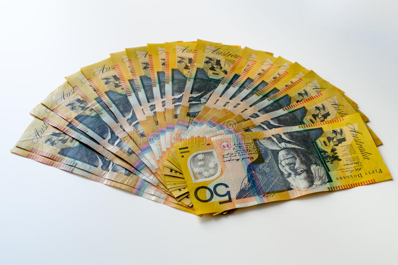 Australian Money - Aussie currency. Background royalty free stock image
