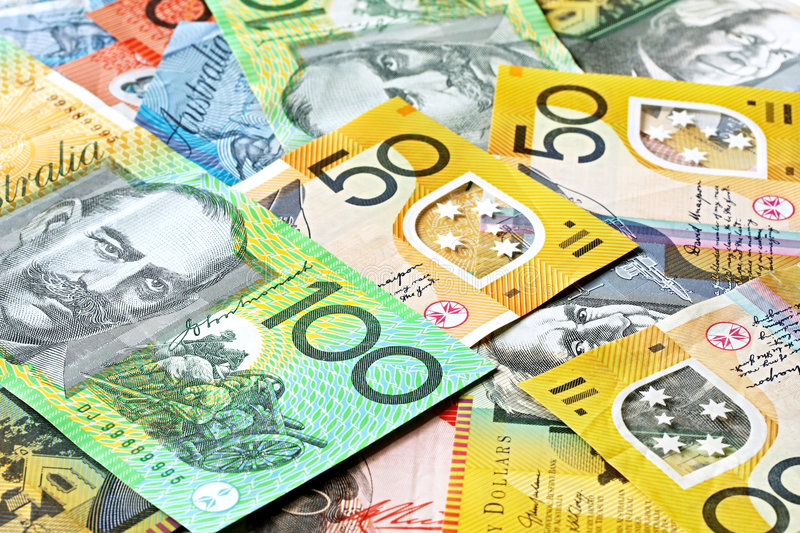 Australian Money Background. Notes include $100, $50, $20 and $10 royalty free stock photo