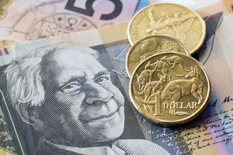 Australian Money Background. Coins and notes royalty free stock image