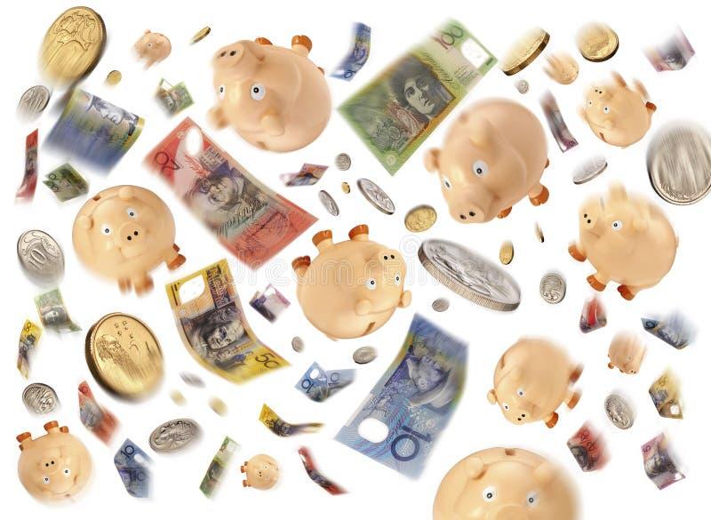 Australian Money Budget Debt. Australian money notes, coins and piggy banks swirling through the air stock photography