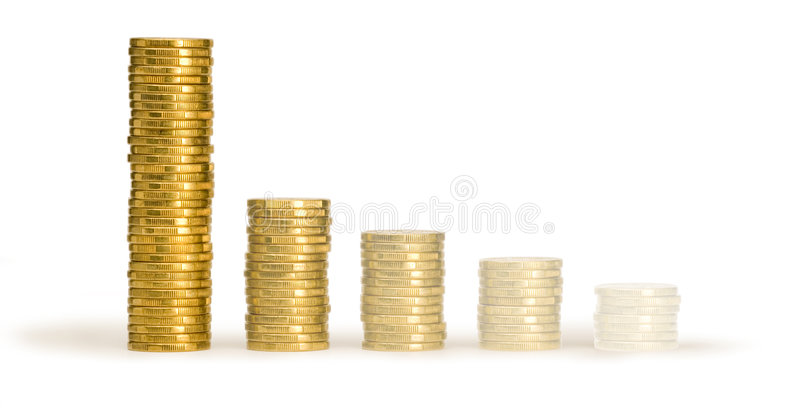 Australian Money Coins Stacks Disappearing. Stacks of Australian one dollar coins in descending order disappearing royalty free stock photo