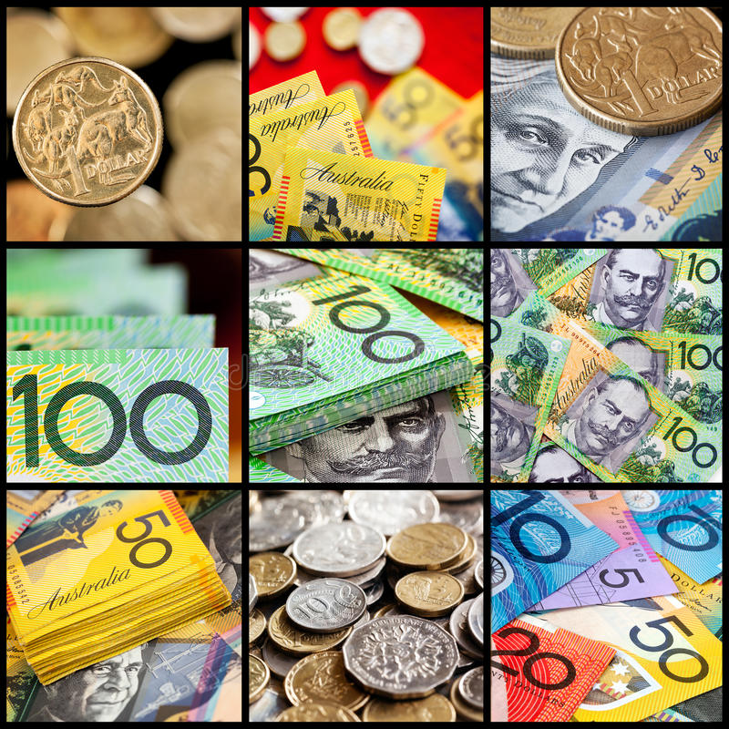 Australian Money Collection. Coins and notes royalty free stock photo