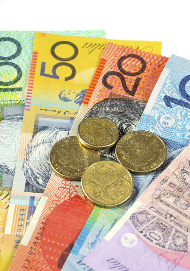 Australian Money. Concept for savings, spending, or 30th June End of Financial Year sale stock photography