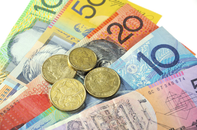 Australian Money. Concept for savings, spending, or 30th June End of Financial Year sale royalty free stock photos