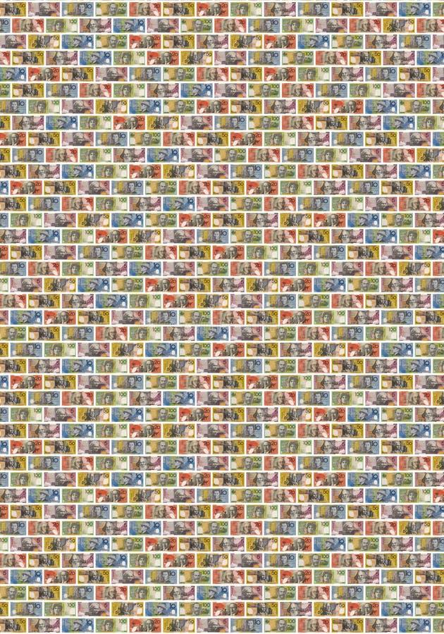 Australian Money Dollar Background. Wall of various Australian money notes stock images