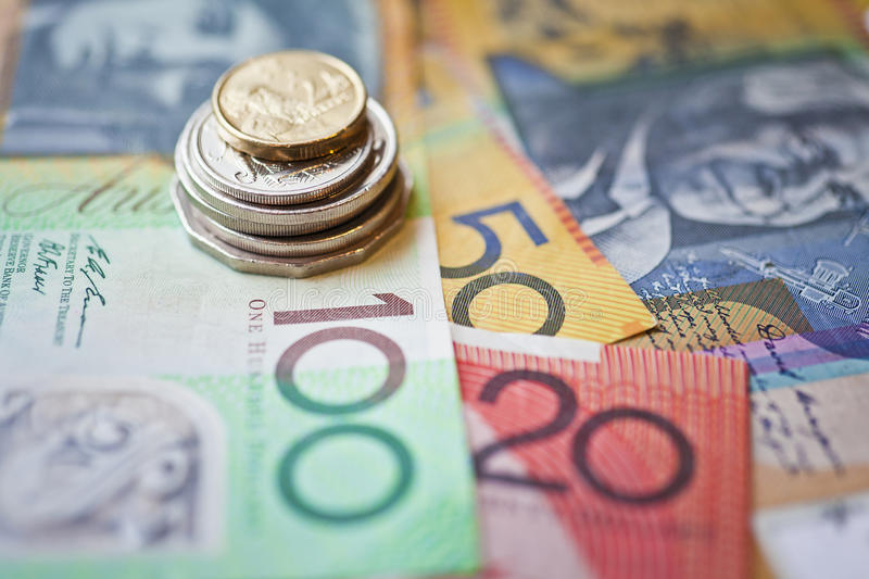 Australian money. Australian dollars currency, notes and coins stock photography