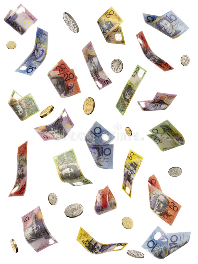 Australian Money Falling Stock Photos
