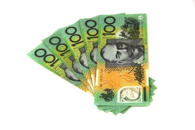 Australian money in a fan shape stock photography