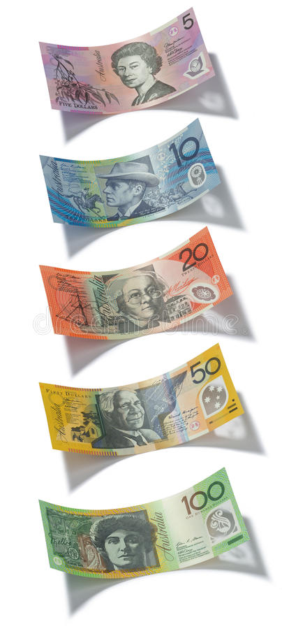 Australian Money Notes Dollar Dollars. A full set of Australian dollar notes shot to scale with a drop shadow stock image