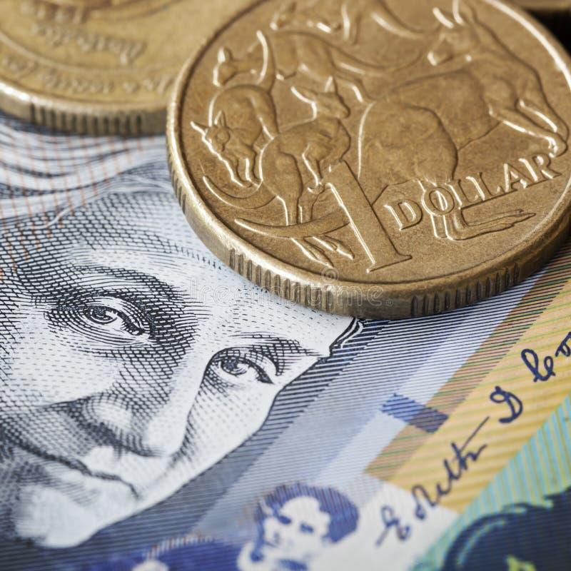 Australian Money. One dollar coin with kangaroos, over face of Edith Cowan stock photo
