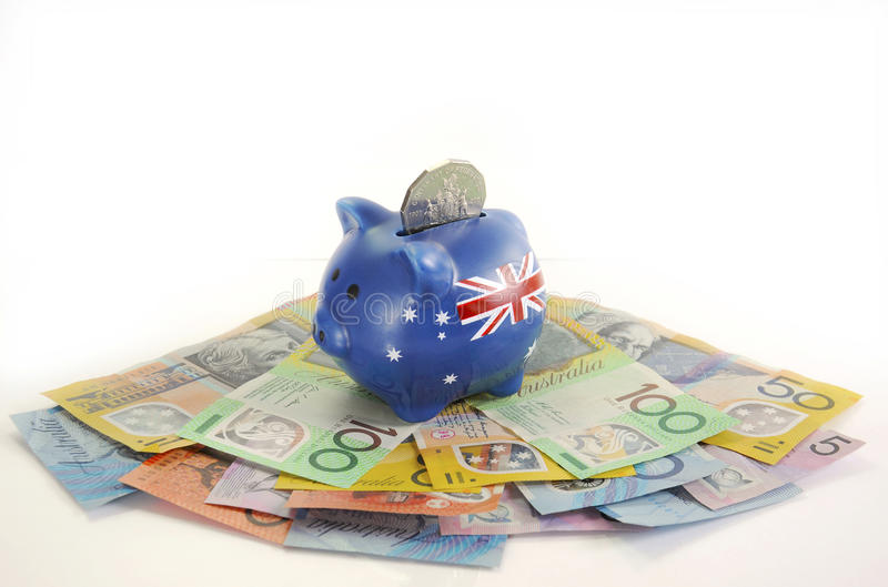 Australian Money with Piggy Bank. For saving, spending or end of financial year sale royalty free stock photos