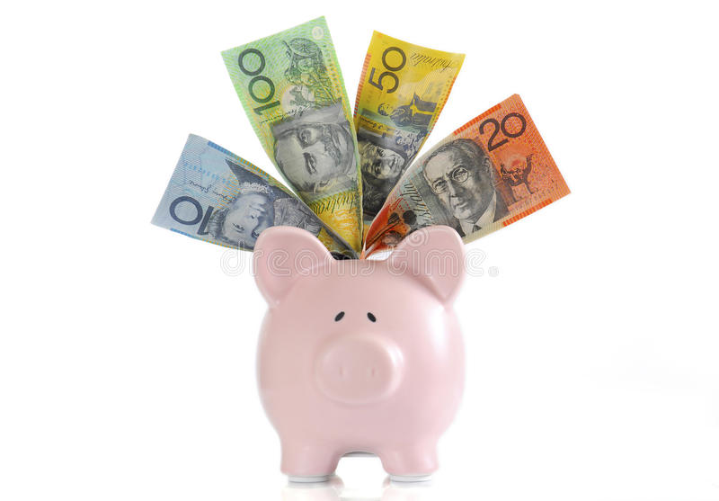 Australian Money with Piggy Bank. For saving, spending or end of financial year sale stock images