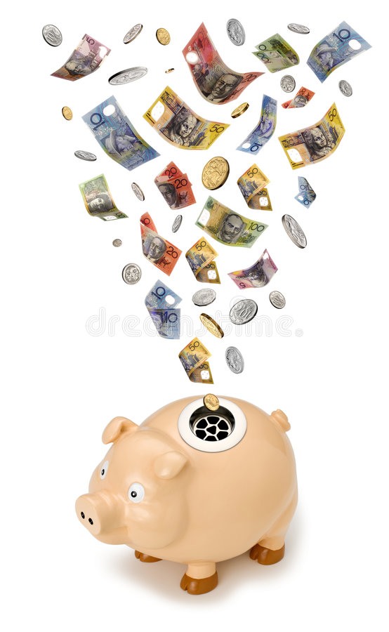 Australian Money Piggy Bank Tax. A piggy bank with a drain instead of a slot. With Australian money falling into the drain royalty free stock photo