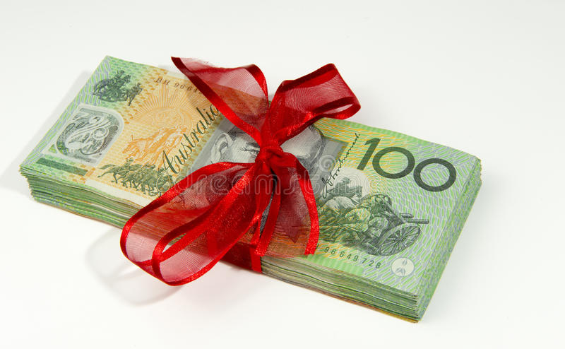 Australian money gift stock photo