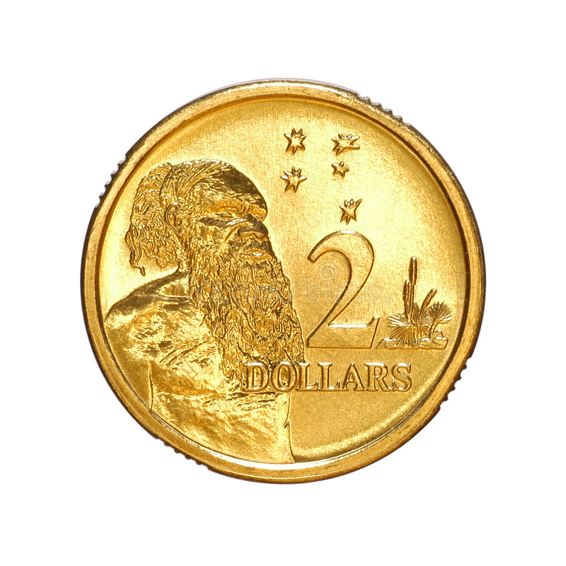 Australian Money Two Dollar Coin. Isolated on white royalty free stock photography