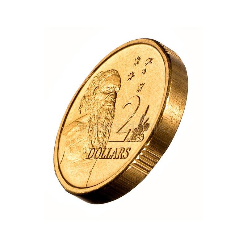 Australian Money Two Dollar Coin. Australian two dollar coin 3/4 view isolated on white stock photo