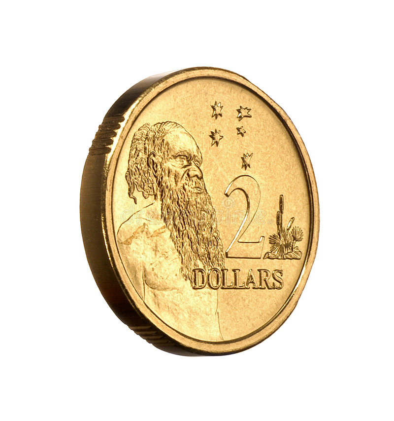 Australian Money Two Dollar Coin. 3/4 view on a white background royalty free stock images