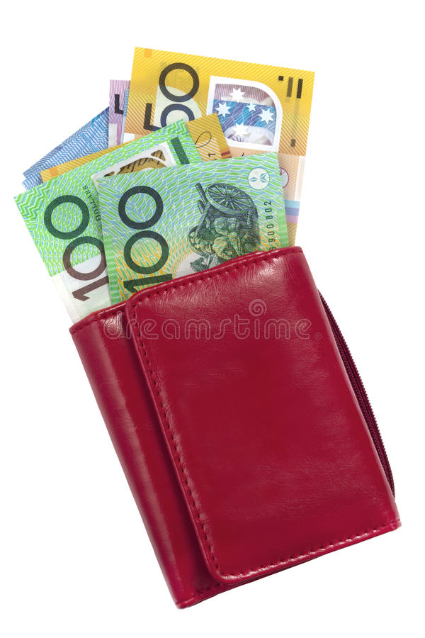 Australian Money in Wallet. Red wallet with Australian money, including one hundred and fifty dollar bills stock photo