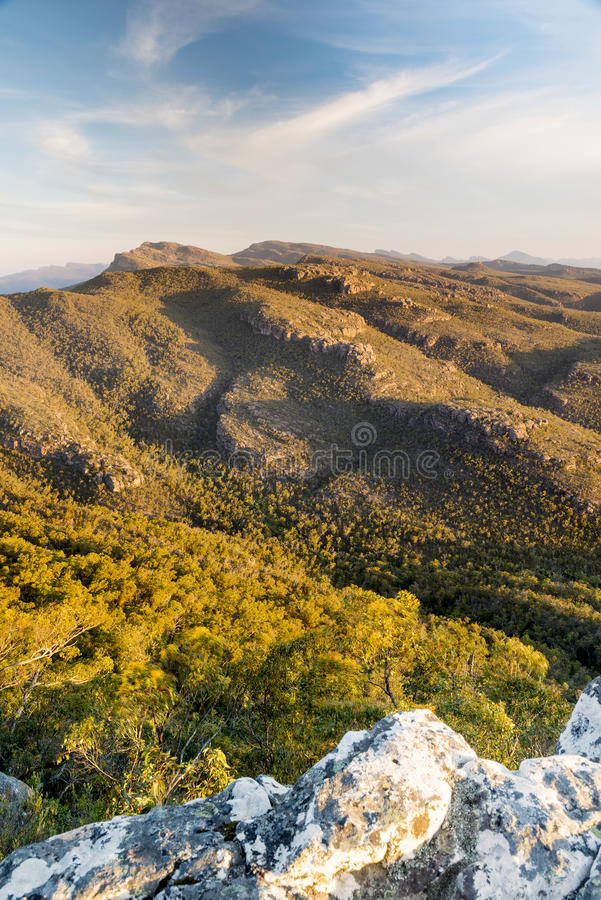 Australian Mountains. At sunset in the Grampians National Park, Victoria with rocky cliffs and valleys stock photography