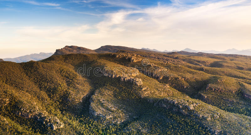 Australian Mountains. At sunset in the Grampians National Park, Victoria with rocky cliffs and valleys stock photo