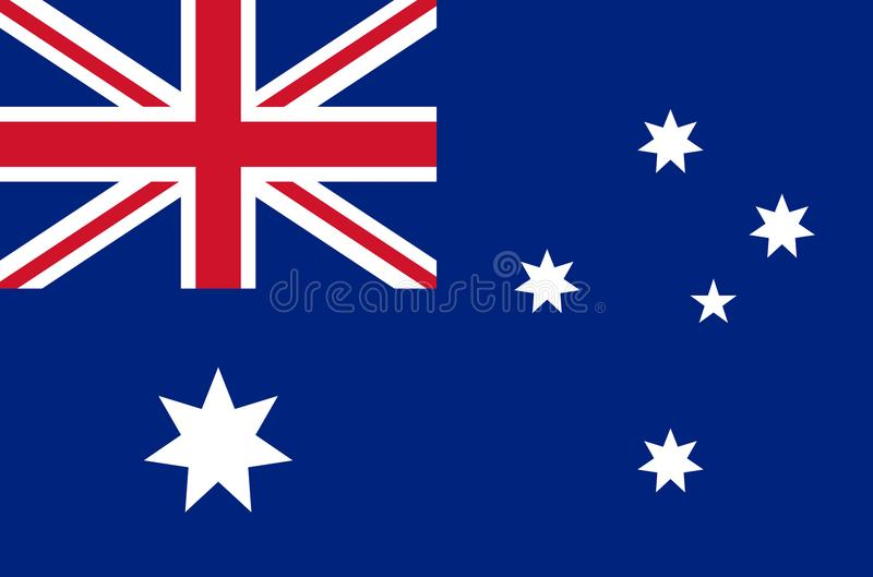 Australian national flag in accurate colors, official flag of australia in exact colors. Real colors royalty free illustration