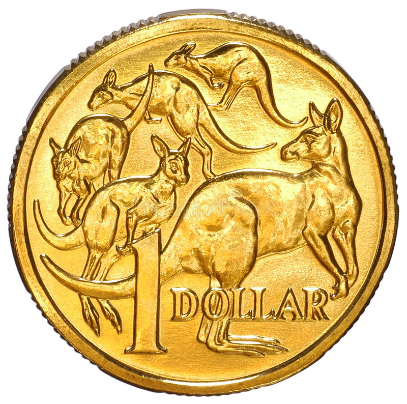 Australian One Dollar Coin. On a white background stock photography