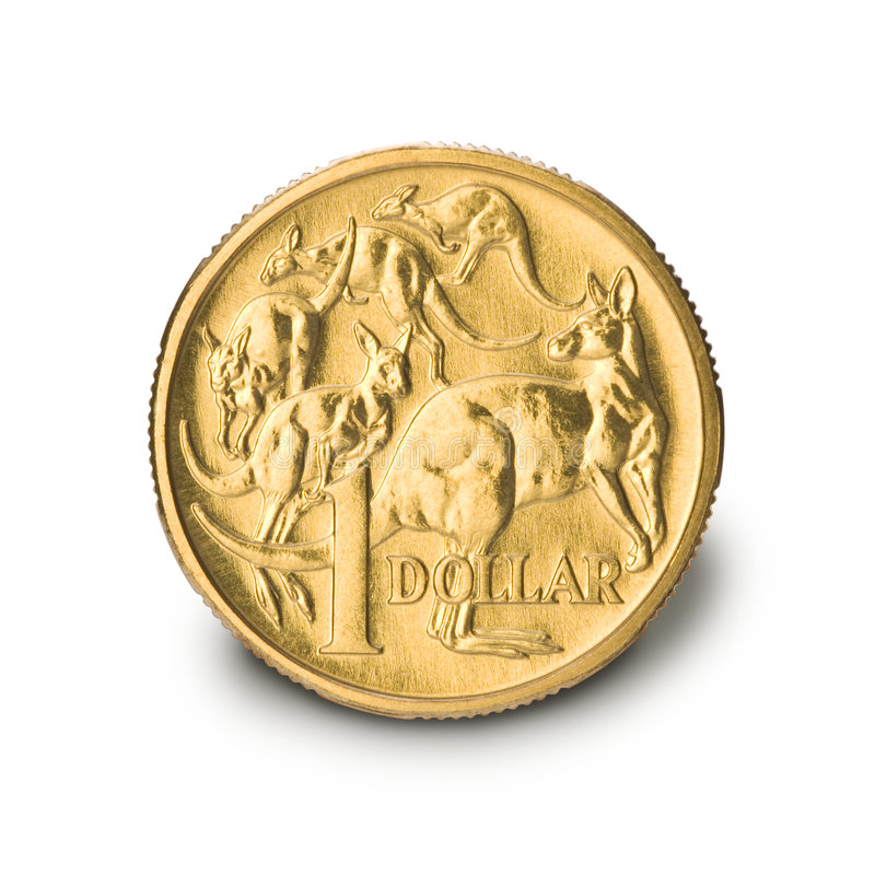 Australian One Dollar Coin. Isolated on a white background royalty free stock photos