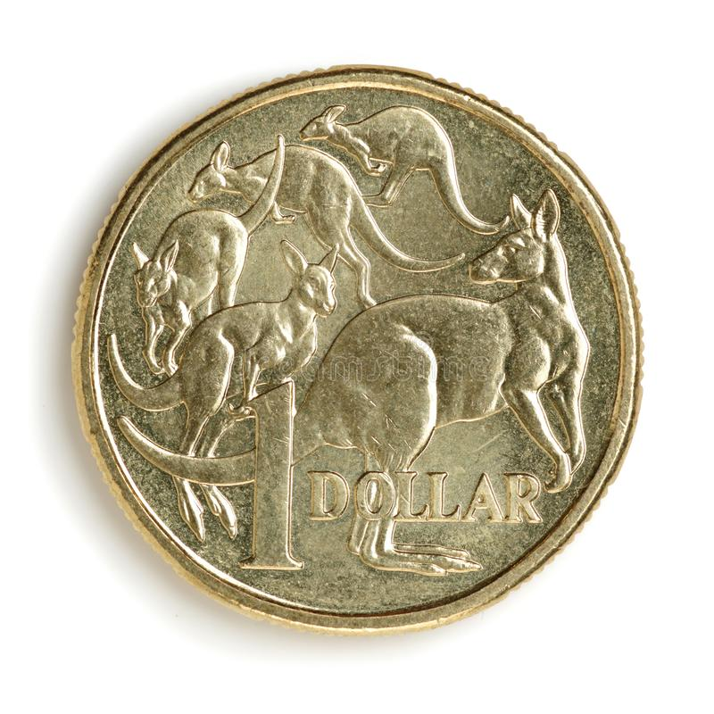 Australian one dollar coin, with kangaroos, in close-up with soft shadow. Isolated on white background royalty free stock images