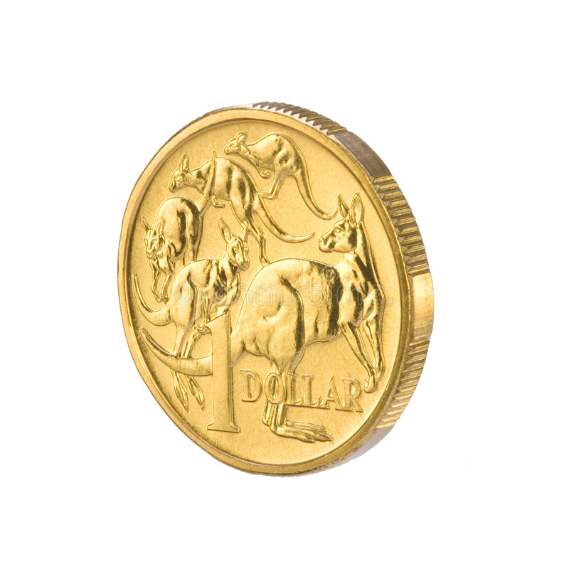 Australian One Dollar Coin Money. A one dollar Australian coin seen from 3/4 view on a white background royalty free stock image