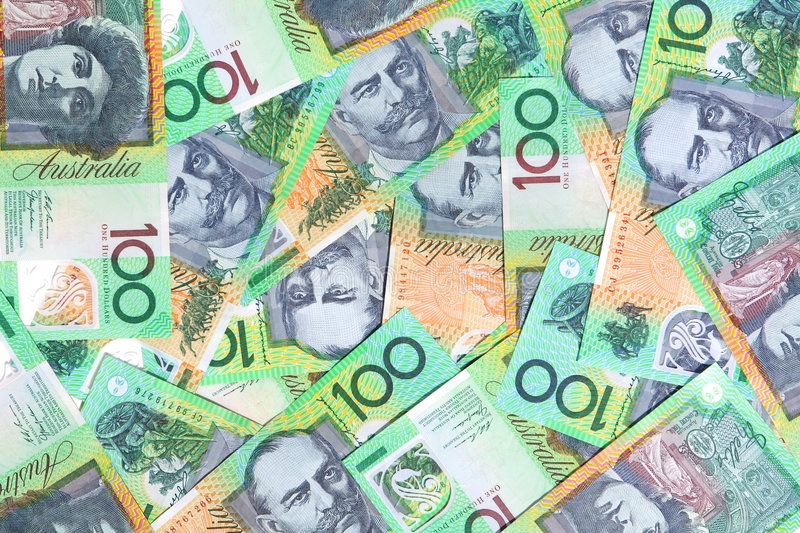 Australian One Hundred Dollar. Notes make a full-frame background royalty free stock photo