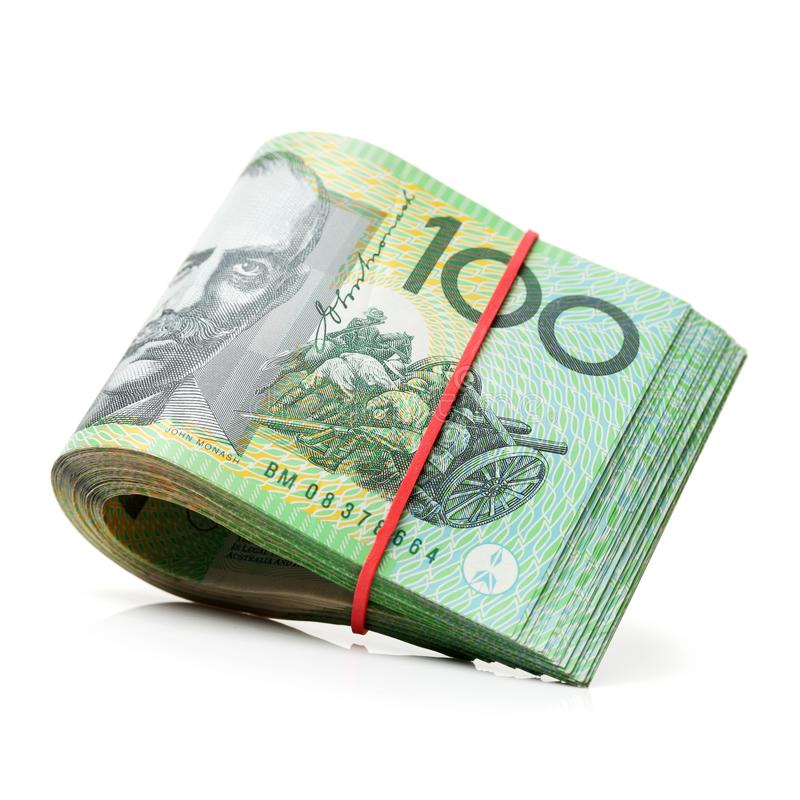 Australian one hundred dollar bills stock image