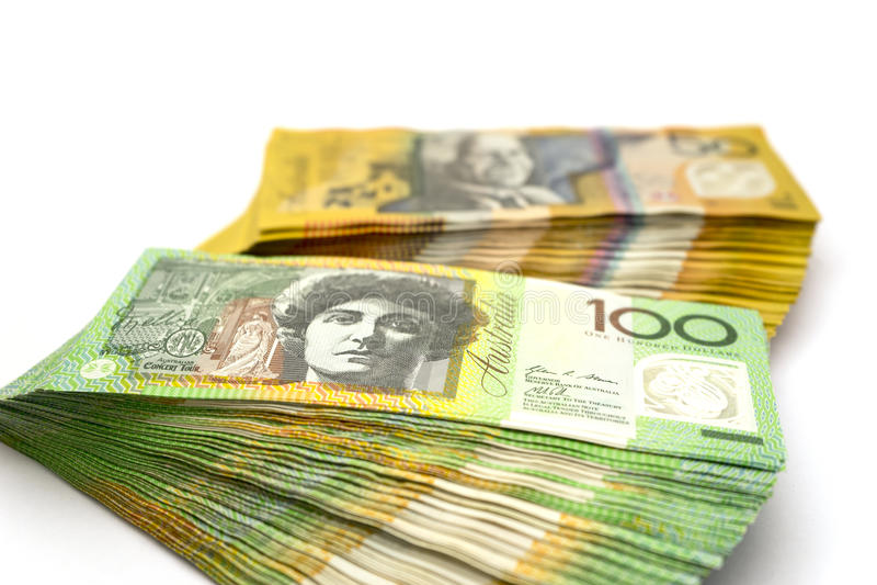 Australian one hundred dollar bills and fifty dollar bills stock image
