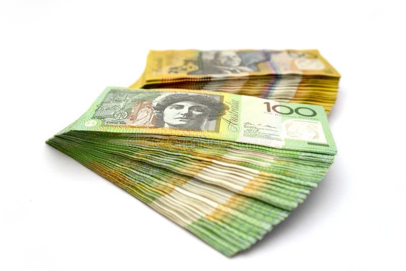 Australian one hundred dollar bills and fifty dollar bills stock photo